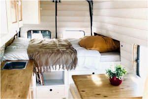 drewno w minidomach campervany